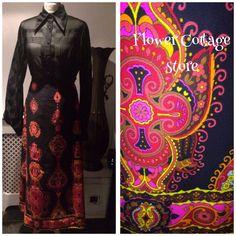 Vintage 1960s/70s Long Vibrant Floral on Black Maxi Hippy Boho Folk Skirt Size 8