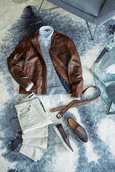 John Varvatos Summer LEther Bomber Band Collar Brown Sweater Jeans - LALONDE's
