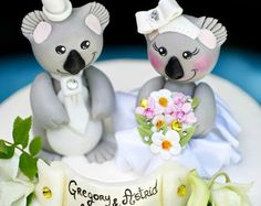 Wedding cake topper koala bride and groom with banner, love bear