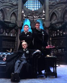 Draco, Crabbe and Goyle in the Slytherin Common Room — Harry Potter Fan Zone Draco Harry Potter, Images Harry Potter, Arte Do Harry Potter, Harry Potter Characters, Harry Potter World, Goyle Harry Potter, Draco Malfoy Aesthetic, Slytherin Aesthetic, Hogwarts