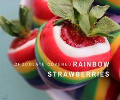 Love Bakes Good Cakes: Chocolate Covered Rainbow Strawberries