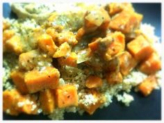 Creamy, hot, protein filled and a comforting flavor! Served on top of quinoa for a perfect meal! Chicken Sweet Potato Curry, Low Carb Sweet Potato, Healthy Grains, Healthy Vegetables, My Favorite Food, Favorite Recipes, Skillet, Quinoa, Protein