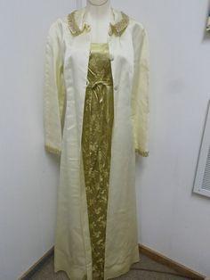 Vintage Gold & Ivory Satin Lined Evening Dress & Coat Maxi Long Length 1960s