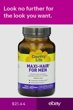 Country Life Maxi Hair For Men 60 Softgels Healthy Helps Block Dht