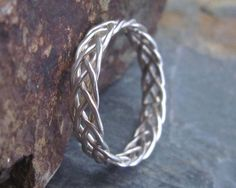Sterling Silver Braided Ring - 5 Strand Braided Ring Celtic Knot Ring Handmade J. Celtic Knot Ring, Celtic Wedding Rings, Wedding Ring Bands, Celtic Knots, Wire Rings Tutorial, Ring Tutorial, Wire Jewelry, Sterling Silver Jewelry, Handmade Jewelry