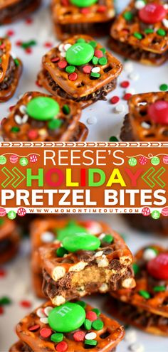 Look at these tiny presents for your mouth! Topped with M Christmas Desserts, Christmas Cookies, Candy Recipes, Holiday Recipes, Food Lists, Pretzel Bites, Apple Cider, Delicious Desserts, Sweet Tooth