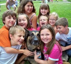 Therapy dog with children