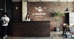 the BRIDGE Hair Salon Interior, Salon Interior Design, Home Salon, Interior And Exterior, Public Hotel, Urban Loft, Gym Design, Facade, Salons