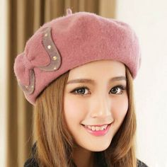 Sweet bow French beret hat for women warm winter hats