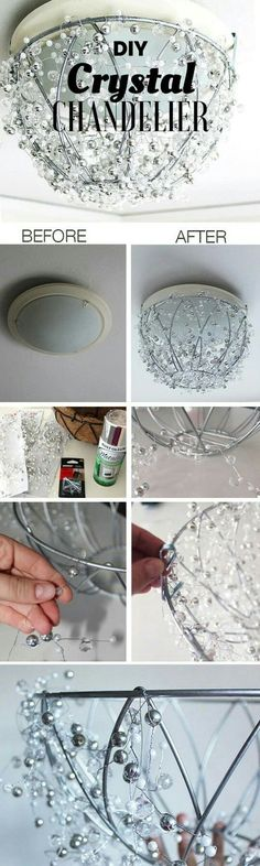 DIY beaded light fixture made from the metal frame of a hanging planter. Very pretty.