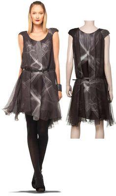 Max Studio Silk Chiffon Print Cap Sleeve Draped Dress