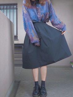 いつかの古着 柄シャツコーデ です ♡ また少しずつ更新していこうと