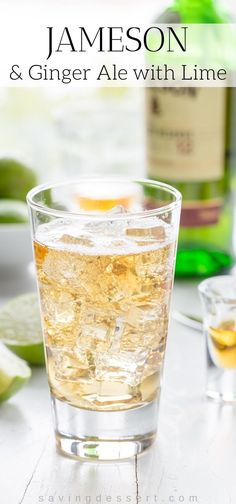 Jameson & Ginger Ale ~ a smooth and bubbly grown-up drink made with Jameson Irish Whiskey, bottled ginger ale and plenty of fresh squeezed lime juice. Alcoholic Drinks With Ginger Ale, Cocktail Ginger Ale, Irish Drinks, Drinks Alcohol Recipes, Yummy Drinks, Jameson Whiskey Drinks, Jameson Irish Whiskey, Bourbon Drinks, Irish Beer