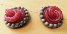 Vintage Antique buttons BAKELITE Pink and Gray Swirl w/ Grey Dotted Edge B101