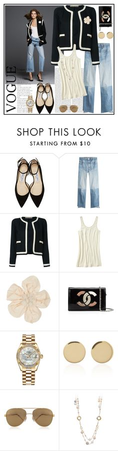 """""""Du denim ♥♥♥"""" by marthalux ❤ liked on Polyvore featuring Jimmy Choo, Oris, Vetements, Chanel, Old Navy, Lanvin, Rolex, Magdalena Frackowiak and Chopard"""
