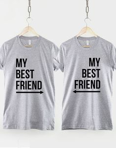 This is a pack of 2 Best Friends T-Shirts with arrows pointing Left, and Right. These best friend shirts are made of premium quality ring spun cotton for a great quality soft feel, and comfortable retail fit. Our soft textile flex print gives a really high end finish to any
