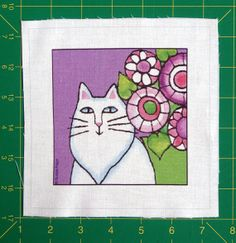 Cat Quilt Block Fabric Craft Panel for DIY by SusanFayePetProjects, $3.50 #cat #quilt #fabric