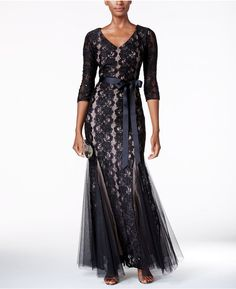 Alex Evenings Sequined Lace Mermaid Sash Gown #black #sequin #Mermaid #dress #gown