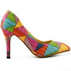 LF60603 Multicoloured Triangles Pointy Toe Stiletto High Heel Pumps