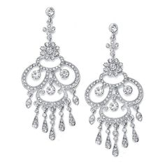 Long Chandelier Earrings with Crystal Teardrops