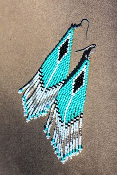Tribal Earrings,Native American Seed Beaded,Native Woven Jewelry,Native American Tribal Bead Work,Native Indian Dangler Turquoise Bohemian by NativeStyles on Etsy