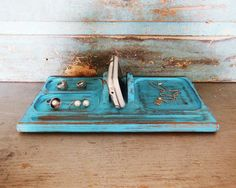 Turquoise Distressed Valet Wooden Upcycled by turquoiserollerset, $20.00