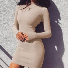Solid Long Sleeve Slim Mini Bodycon Dress Women Sexy Turntleneck Knitted Dresses High Quality Ladies Fashion Casual Dress Winter Off The Shoulder Double Ruffle Tankini Top - Red Plum Embroidery Flora Warm Dresses, Casual Dresses, Tight Dresses, Beige Dresses, Dresses Dresses, Mini Dresses, Short Dresses, Long Sleeve Mini Dress, Dress Long