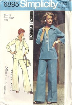 Simplicity 6895 Misses Laced Top, Pants 70s Vintage Sewing Pattern Size 10 Bust 32 1/2 Designer Fashion by patternmania on Etsy