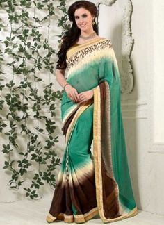 Sea Green Brown Border Work Georgette Printed  Designer Casual Sarees http://www.angelnx.com/featuredproduct
