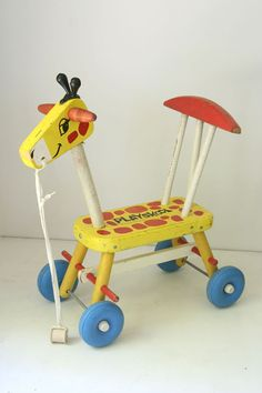 Vintage Playskool wooden ride on giraffe, 1966.