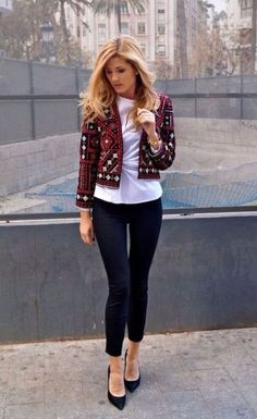 With white shirt, crop black skinnies and pumps