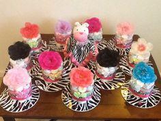 12 Mini Pink Zebra Print Diaper Cakes - The Supermums Craft Fair Mini Diaper Cakes, Nappy Cakes, Mini Cakes, Baby Shower Games, Baby Shower Parties, Zebra Print Rug, Zebra Baby Showers, Party Ideas, Party Party