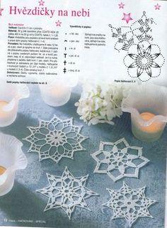 Háčkované vánoční ozdoby :: Janarip Crochet Snowflake Pattern, Crochet Motif Patterns, Crochet Stars, Crochet Snowflakes, Crochet Flowers, Crochet Christmas Decorations, Crochet Ornaments, Christmas Crafts, Snowflake Craft