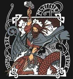 Thor at ragnorrok Mayan Symbols, Viking Symbols, Viking Runes, Ancient Symbols, Egyptian Symbols, Norse Tattoo, Wiccan Tattoos, Viking Tattoos, Inca Tattoo