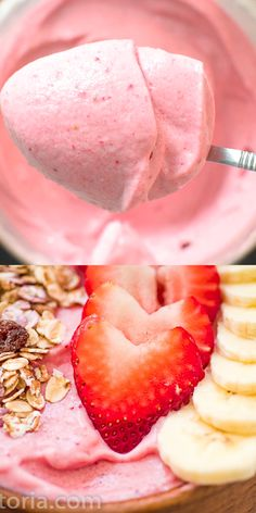 This Strawberry Banana Smoothie Bowl is super easy to make and it tastes better than ice cream! Made with just 3 ingredients, you'll want to eat it al Banana Smoothie Bowl, Strawberry Banana Smoothie, Fruit Smoothie Recipes, Easy Smoothies, Smoothies With Oats, Kiwi Recipes, Chia Seed Smoothie, Dragon Fruit Smoothie, Acai Smoothie