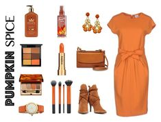 """Monochrome: Pumpkin Spice"" by erin-k-lewis ❤ liked on Polyvore featuring Armani Collezioni, Schutz, FOSSIL, Clarins, MAC Cosmetics, Tory Burch, Sisley and pumpkinspice"