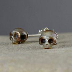 Carved Skull Pearl Stud Earrings Sterling Silver by ArloEdgeWalker