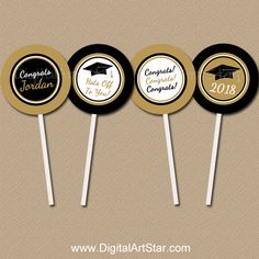 Personalized Graduation Cupcake Picks for Black and Gold Graduation Party #graduation #graduationpartyideas