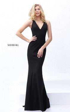 V Neck Sherri Hill 50644 Black Open Back Sexy Prom Dress