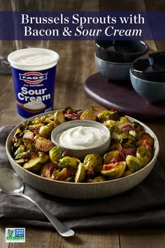 Consider this the only Brussels sprouts recipe you'll ever need! Brussels sprouts and bacon elevated with all-natural FAGE Sour Cream. Side Dish Recipes, Vegetable Recipes, New Recipes, Vegetarian Recipes, Cooking Recipes, Favorite Recipes, Healthy Recipes, Side Dishes, Recipies