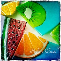 Watermelon Slice glass dish, Summer Slice Series. I like the clear frit effect on the oranges. Must keep that in mind for other projects