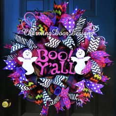 READY TO SHIP Boo Y'all Halloween Deco Mesh by CharmingDoorDesigns
