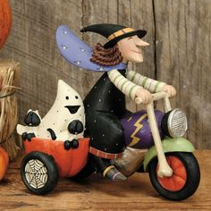 Witch with Ghost on Motorcycle Halloween Figurine
