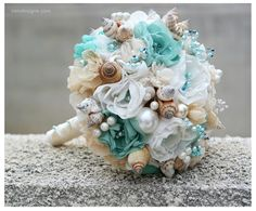Seashells Wedding Bouquet for Beach Wedding. Turquoise and Beige Wedding Bouquet. Beach Bouquet