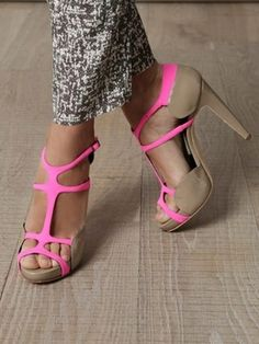 """Back to that """"neon and neutral"""" thing I was obsessed with last year - heels"""