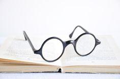 Antique Round Framed Eyeglasses  Black Frame by thelittlebiker