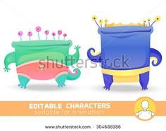 Set of two cute monsters with many eyes. Suitable for animation, video and games. You can change color, position of body parts, dress and size. Vector illustration