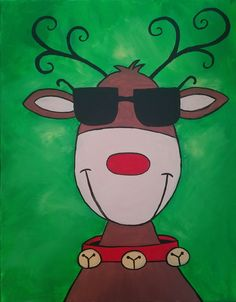 Painted with acrylic on canvas by Johnny McNabb art Christmas Canvas Art, Liquid Watercolor, Whimsical Christmas, Copic Markers, Christmas Photos, Reindeer, Art Ideas, Paintings, School