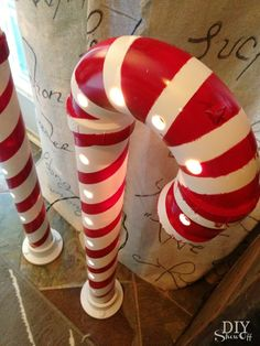 DIY Lighted PVC Candy Canes..