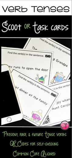 Enjoy the flexibility of using this grammar resource as a Scoot game, verb scavenger hunt, or as task cards. There are 24 cards featuring QR Codes to allow students to self-check their responses. This will be a fun, motivating, and engaging way for stude Grammar Activities, Teaching Grammar, Grammar Lessons, Teaching Resources, Grammar Worksheets, Teaching Ideas, Future Tense Verbs, Presents For Aunts, Verb Tenses